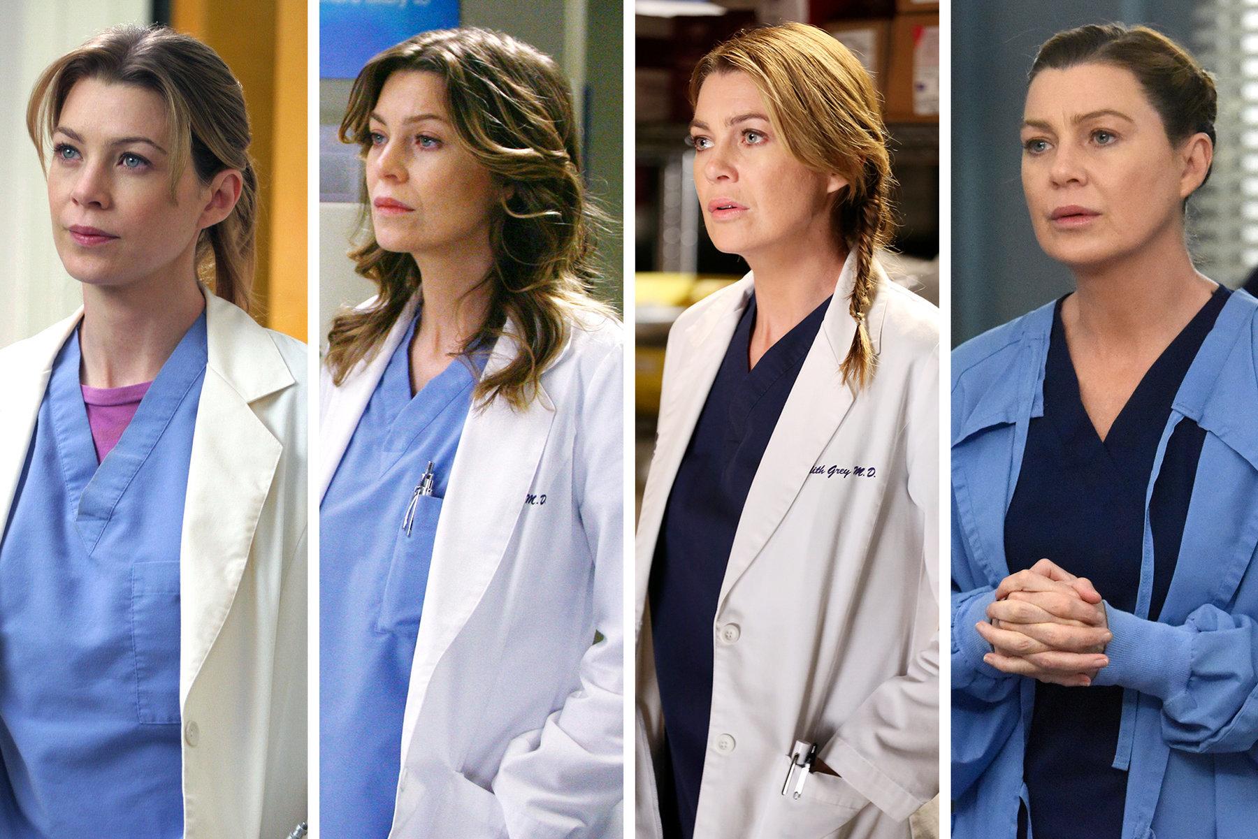 """Meredith Grey en diferentes temporadas de la serie """"Anatomía de Grey""""."""