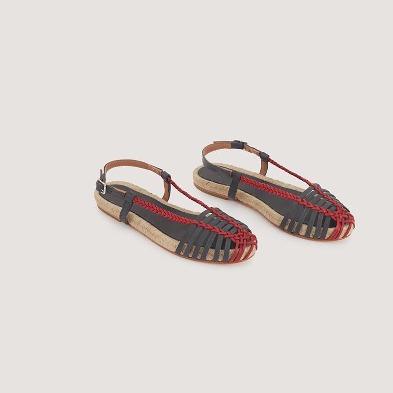 Sandalias cangrejeras de piel bicolor, de Malababa