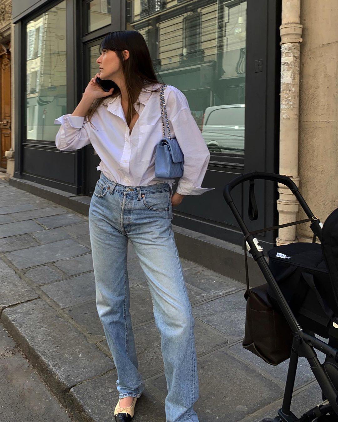 Leia Sfez con sus jeans favoritos.