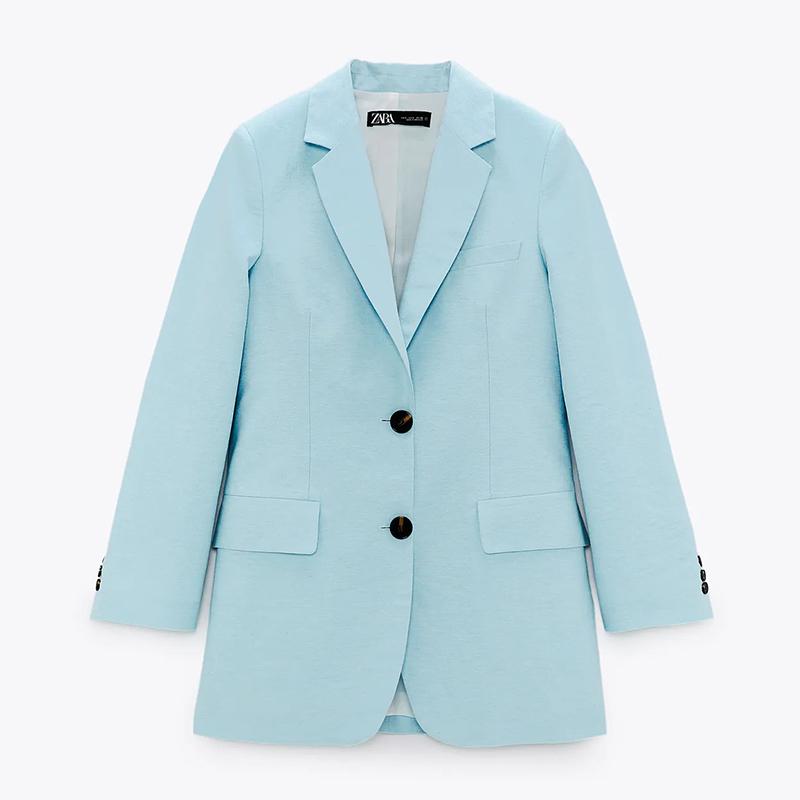 Blazer larga azul.