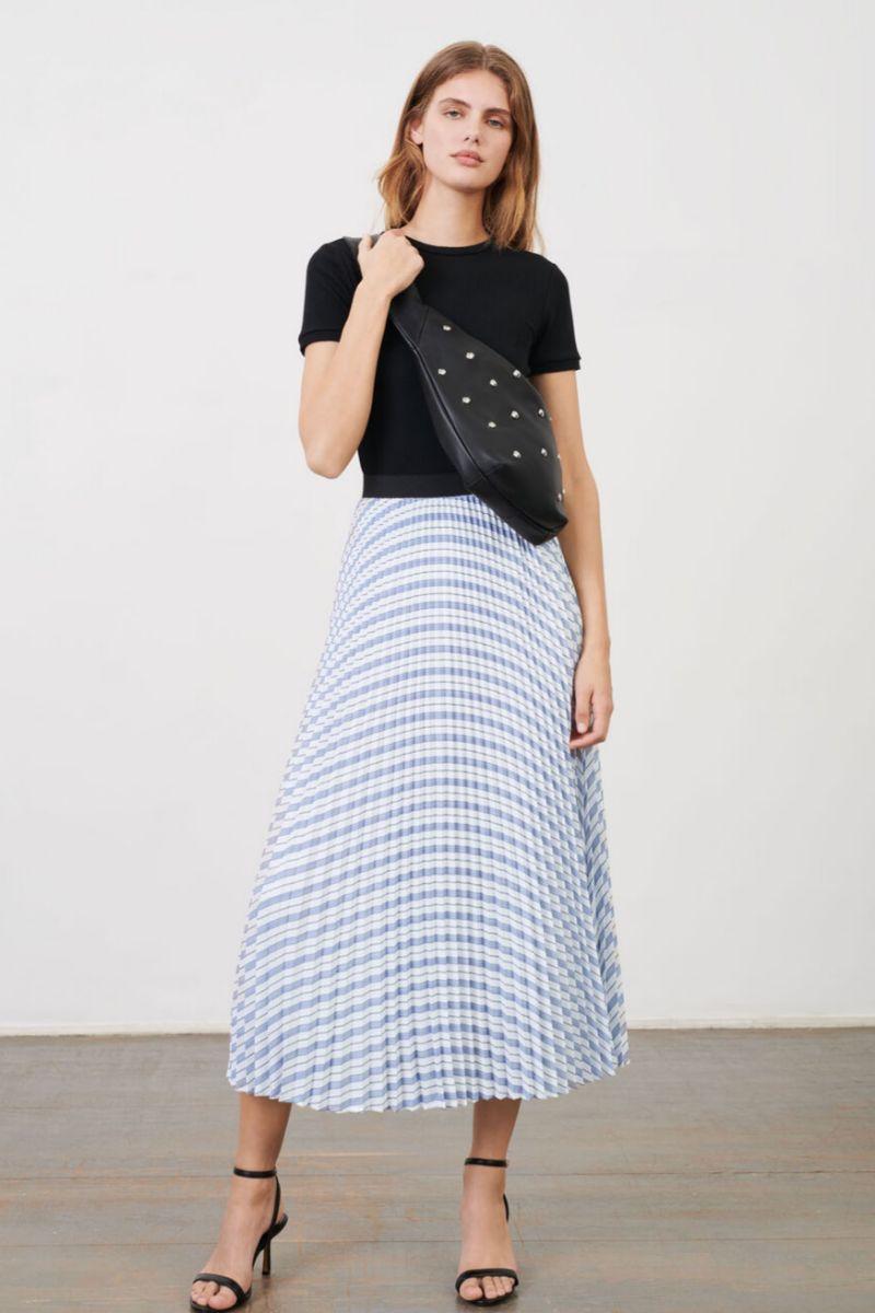 Falda plisada y elástica de rayas de Maje