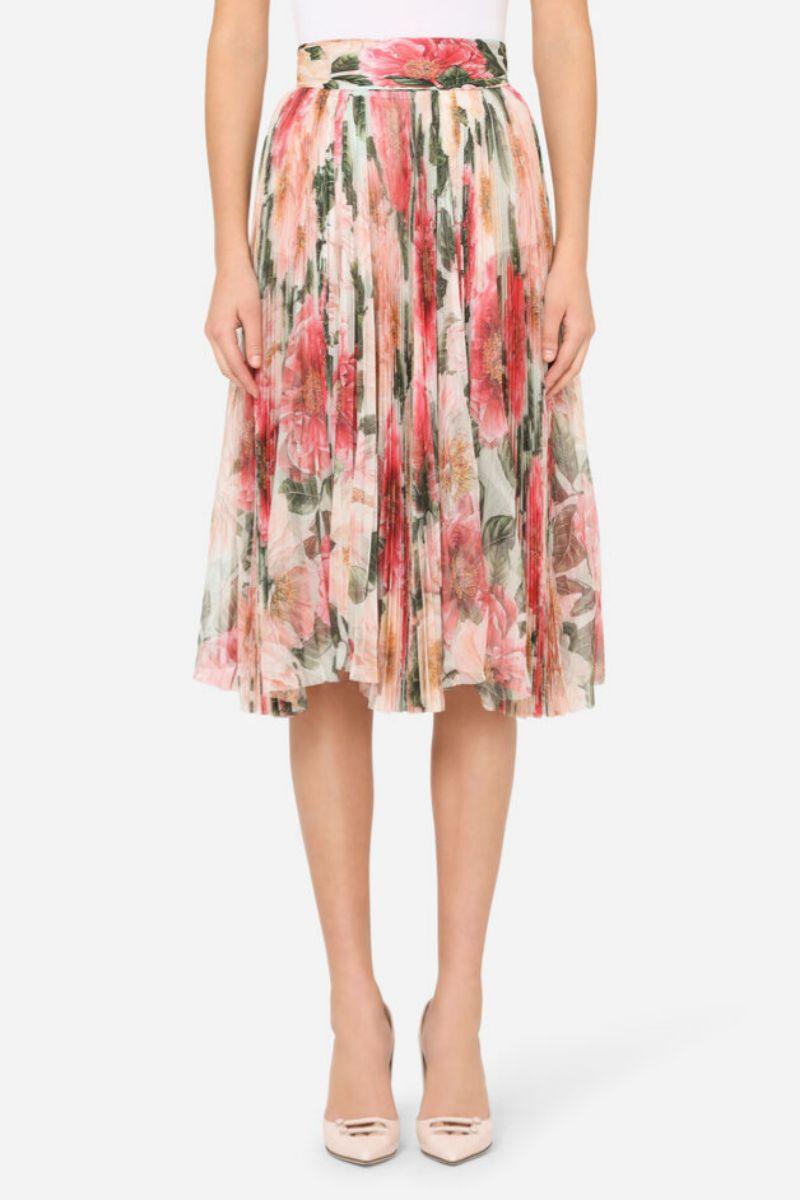 Falda plisada midi de tul con estampado camelias de Dolce & Gabbana