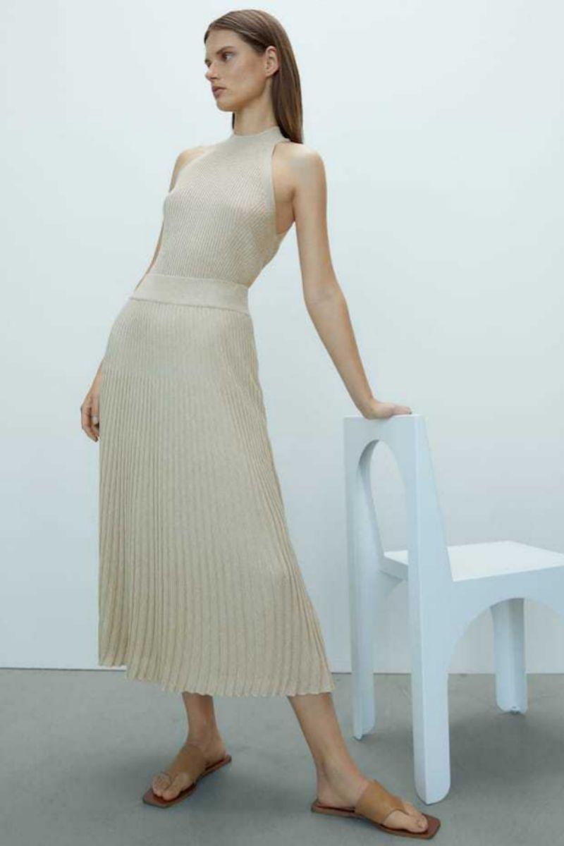 Falda plisada de punto de Massimo Dutti