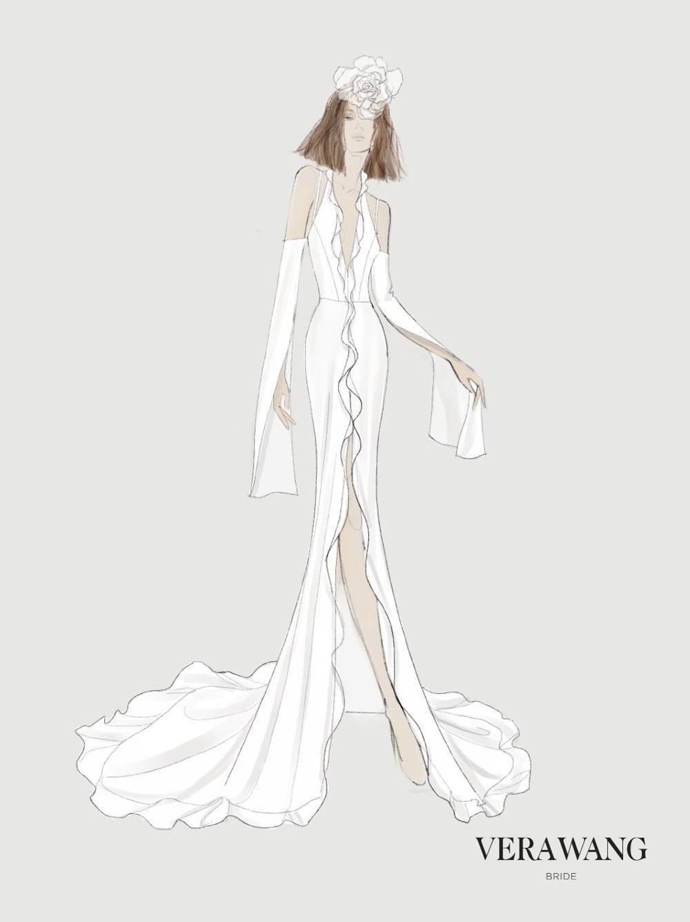 Boceto de uno de los diseños de la colección Vera Wang Bride.