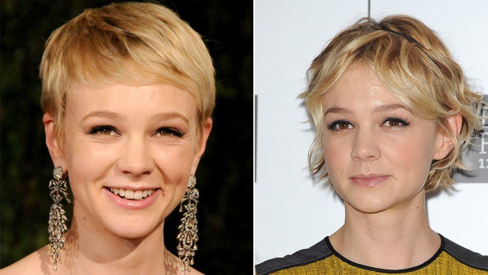 La actriz con un corte de pelo corto con flequillo side swept (izquierda) y con capas y shaggy (derecha).