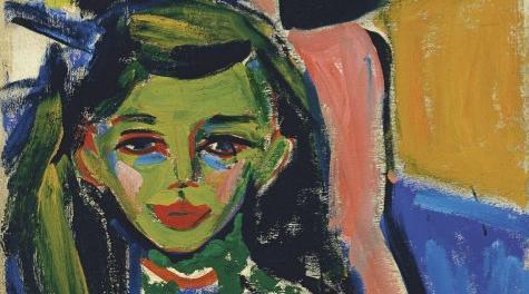 """Fränzi ante una silla tallada"", obra de Ernst Ludwig Kirchner, 1910."
