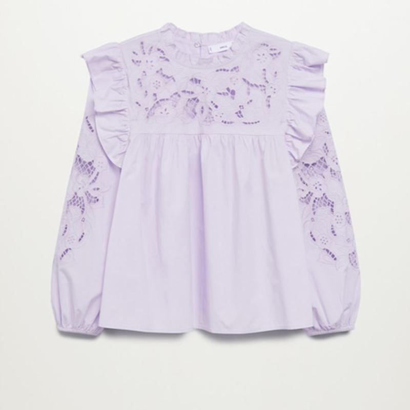 Blusa paneles encaje lila
