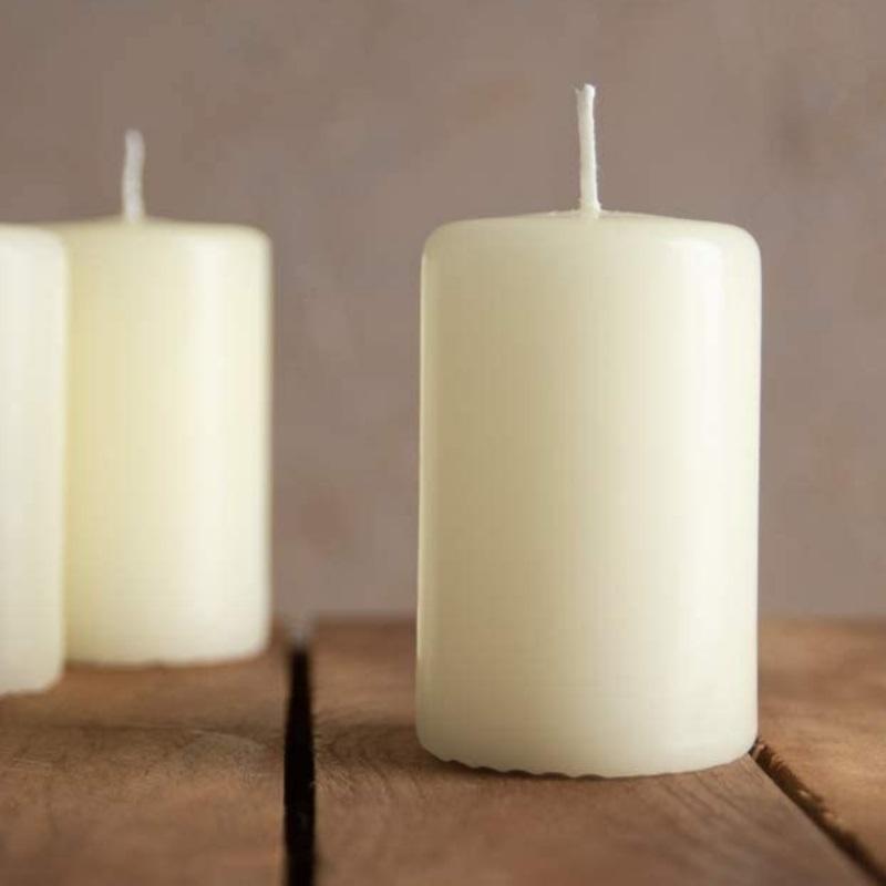 Set de 6 velas color crema