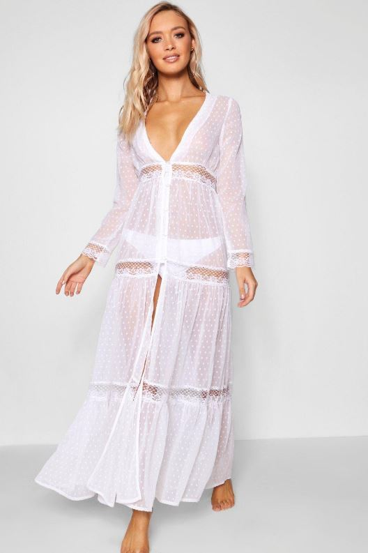 Vestido de encaje blanco de Boohoo