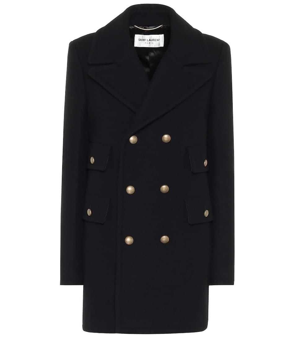 Abrigo negro, de Saint Laurent.