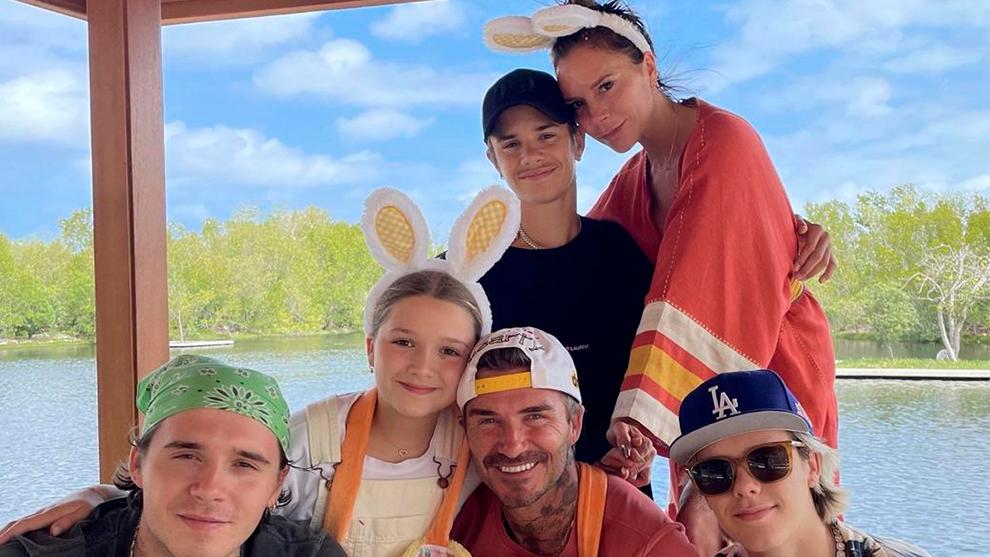 Victoria Beckham con su numerosa familia