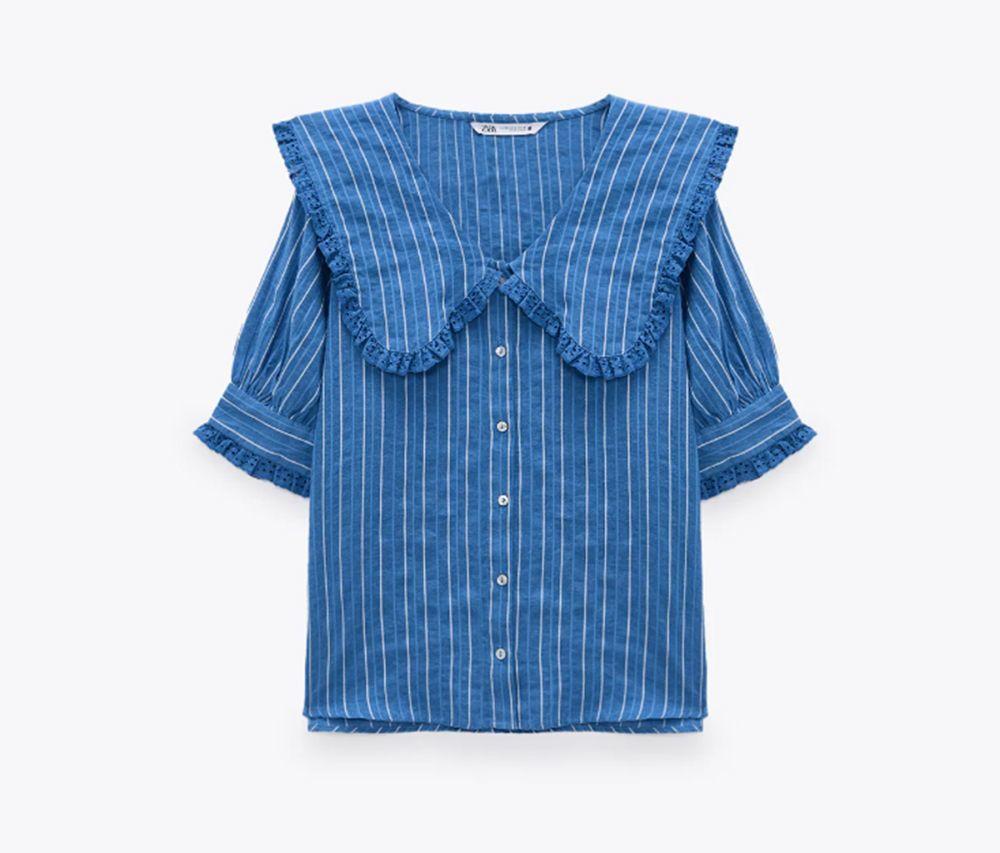 Camisa con cuello bobo de Zara.