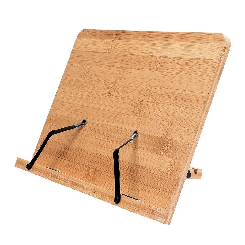 Atril de madera para libros de cocina.