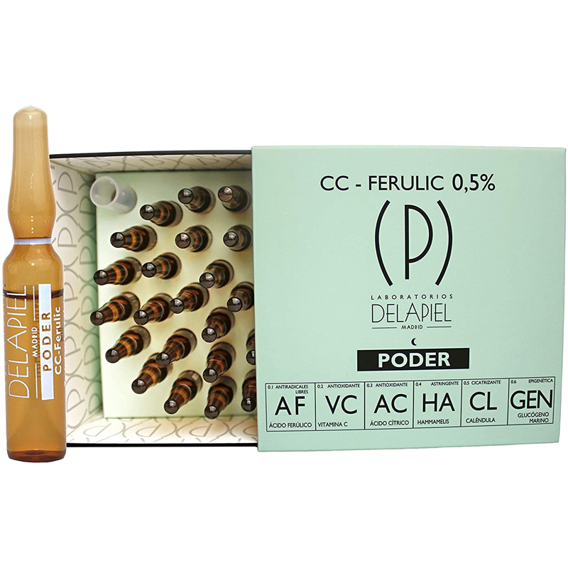 Sérum en formato ampollas con ácido ferúlico y vitamina C de Laboratorios Delapiel.