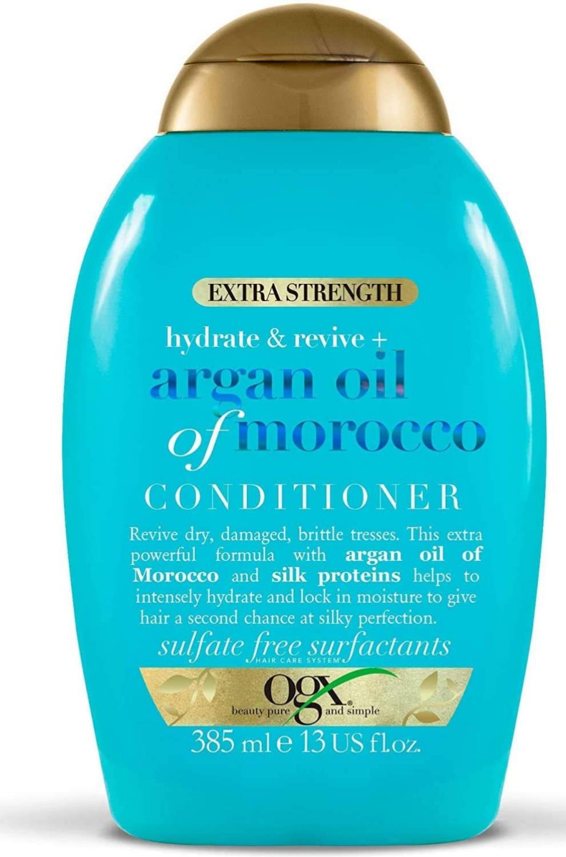 OGX Acondicionador Hidratante sin Sulfatos para Cabello Dañado, Aceite de Argan de Marruecos, Extra Strength, 385 ml