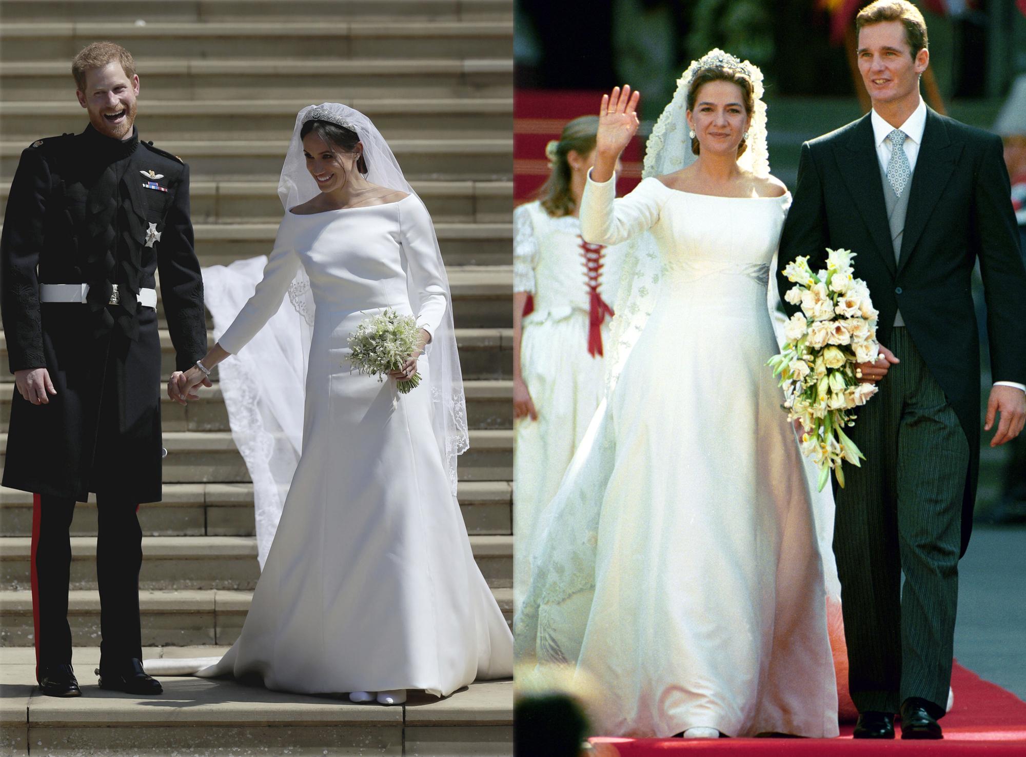 Los vestidos de novia de Meghan Markle y la infanta Elena.