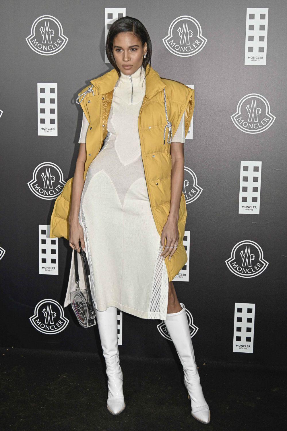 La modelo Cindy Bruna en un evento de Moncler.