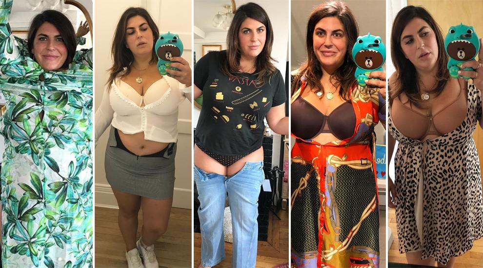 La bloguera Katie Sturino en diferentes imágenes con el hashtag MakeMySize.