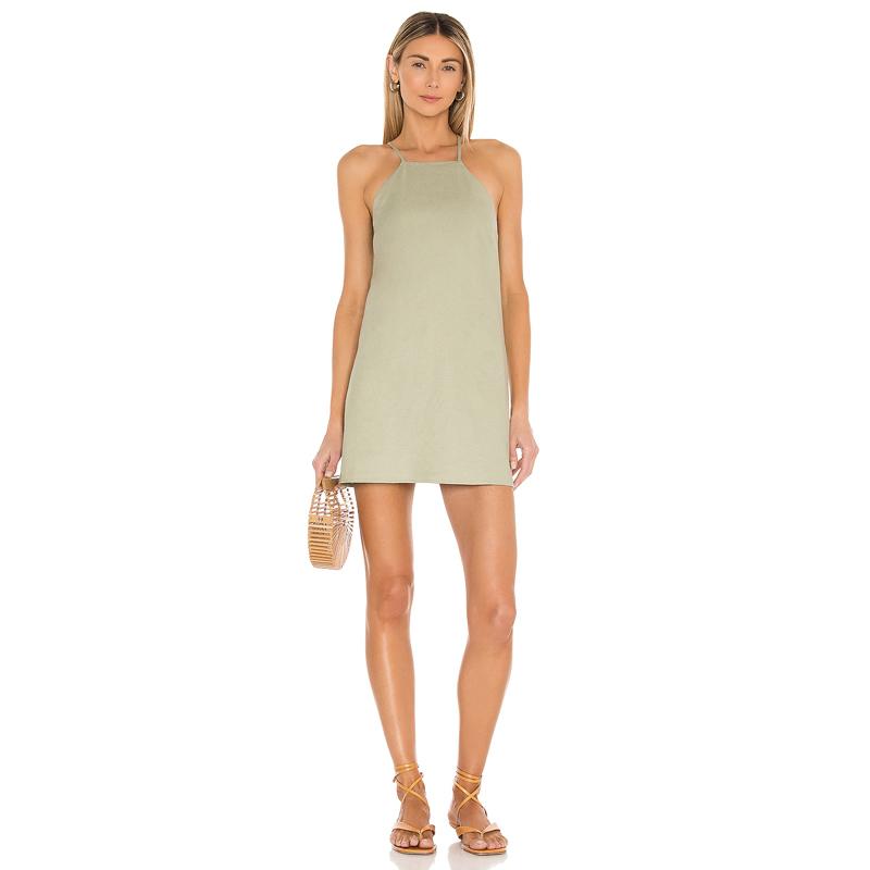 Vestido corto en verde oliva efecto lavado.