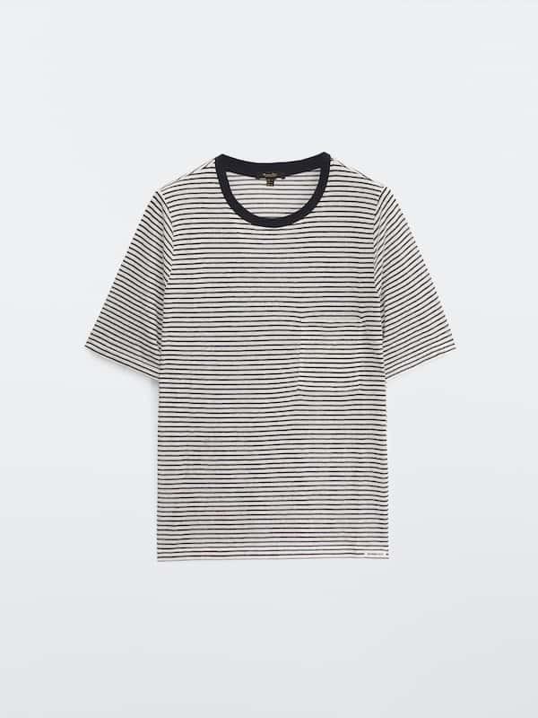 Camiseta manga corta rayas y bolsillo