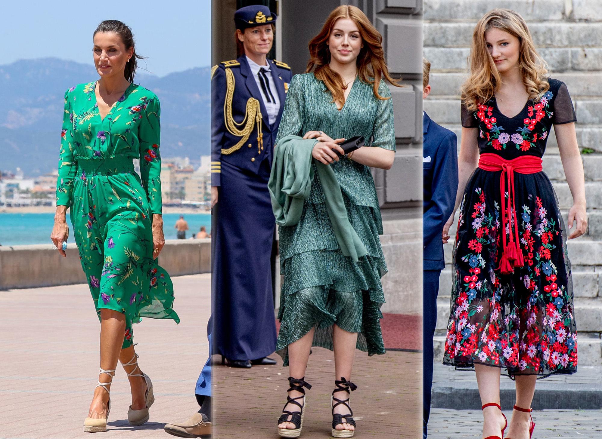 La reina Letizia, Alexia de Holanda y Elisabeth de Bélgica vestidas de Maje.