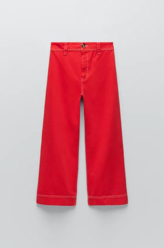 Jeans Z1975 wide leg con pespuntes de Zara