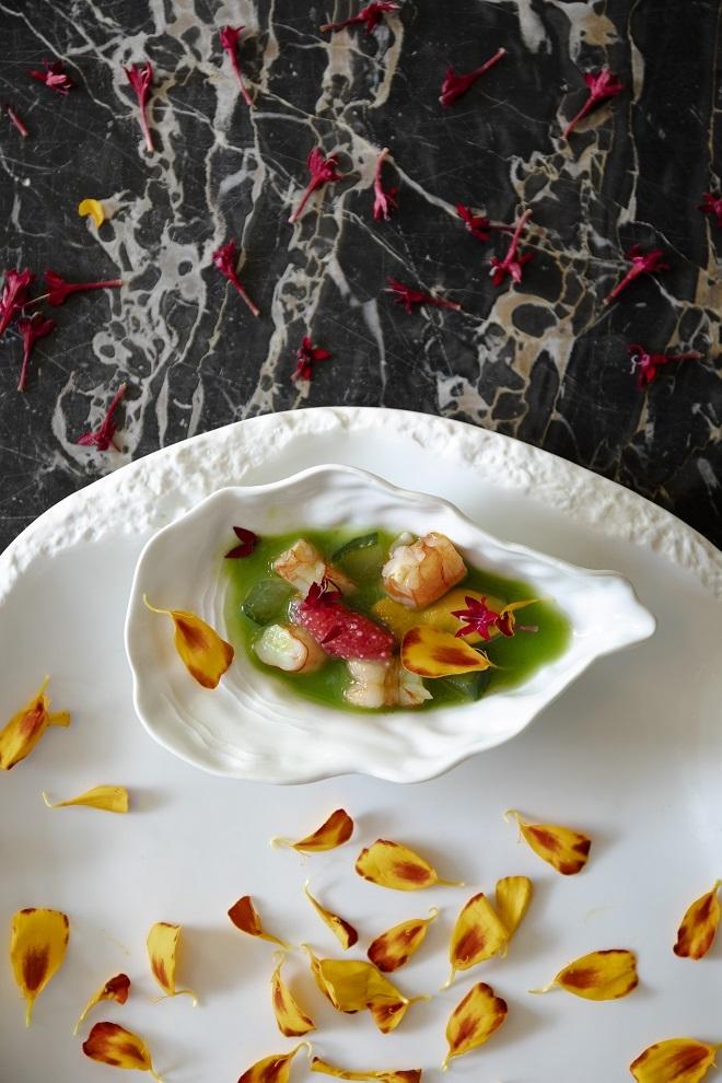 Aguachile de almeja, mejillón, gamba roja y coral de flor de hibisco.