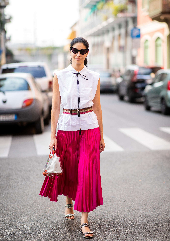 Carolina Issa durante la semana de la moda de Milán.