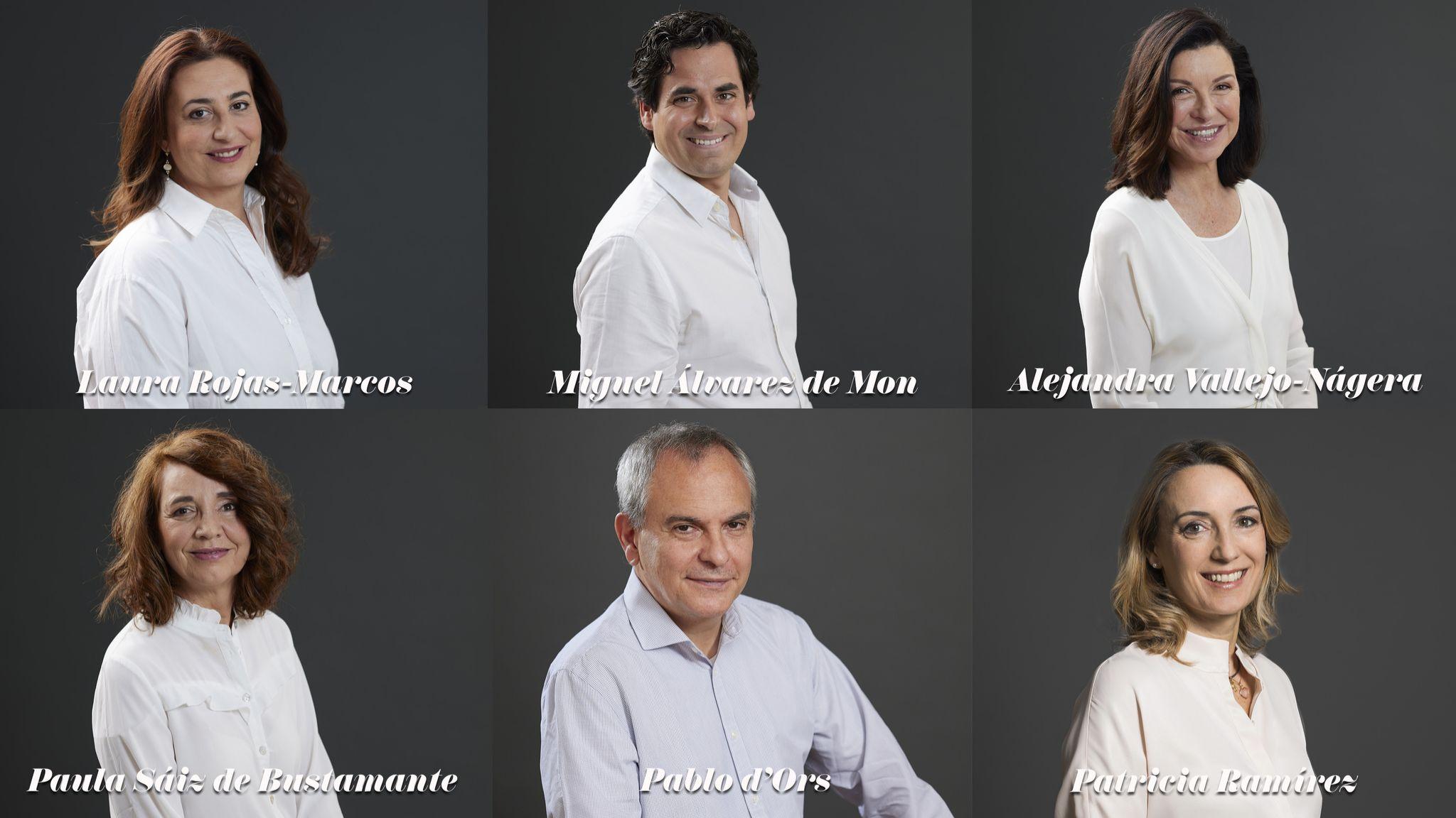 De izda a dcha: Laura Rojas-Marcos, Miguel Álvarez de Mon, Alejandra Vallejo Nágera, Paula Sáiz de Bustamante, Pablo d'Ors y Patricia Ramírez.
