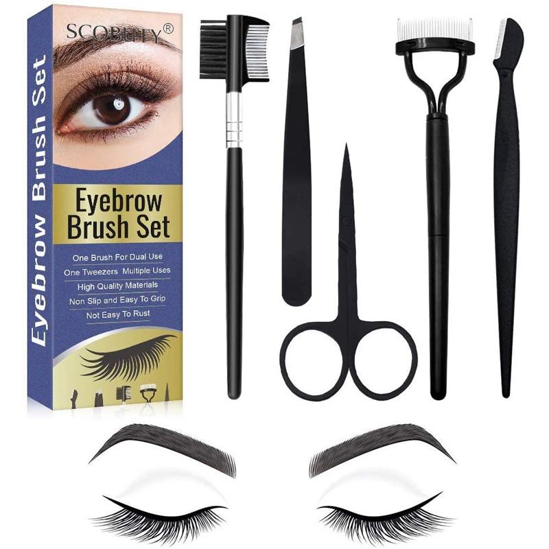 Kit de Scobuty para cuidar las cejas: peines, cepillos y tijeras.