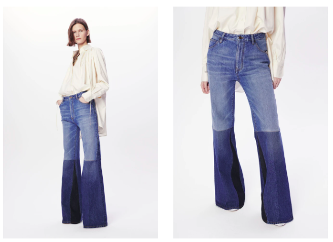 Patchwork Flare Jean in Washed Indigo (490,00 euros)