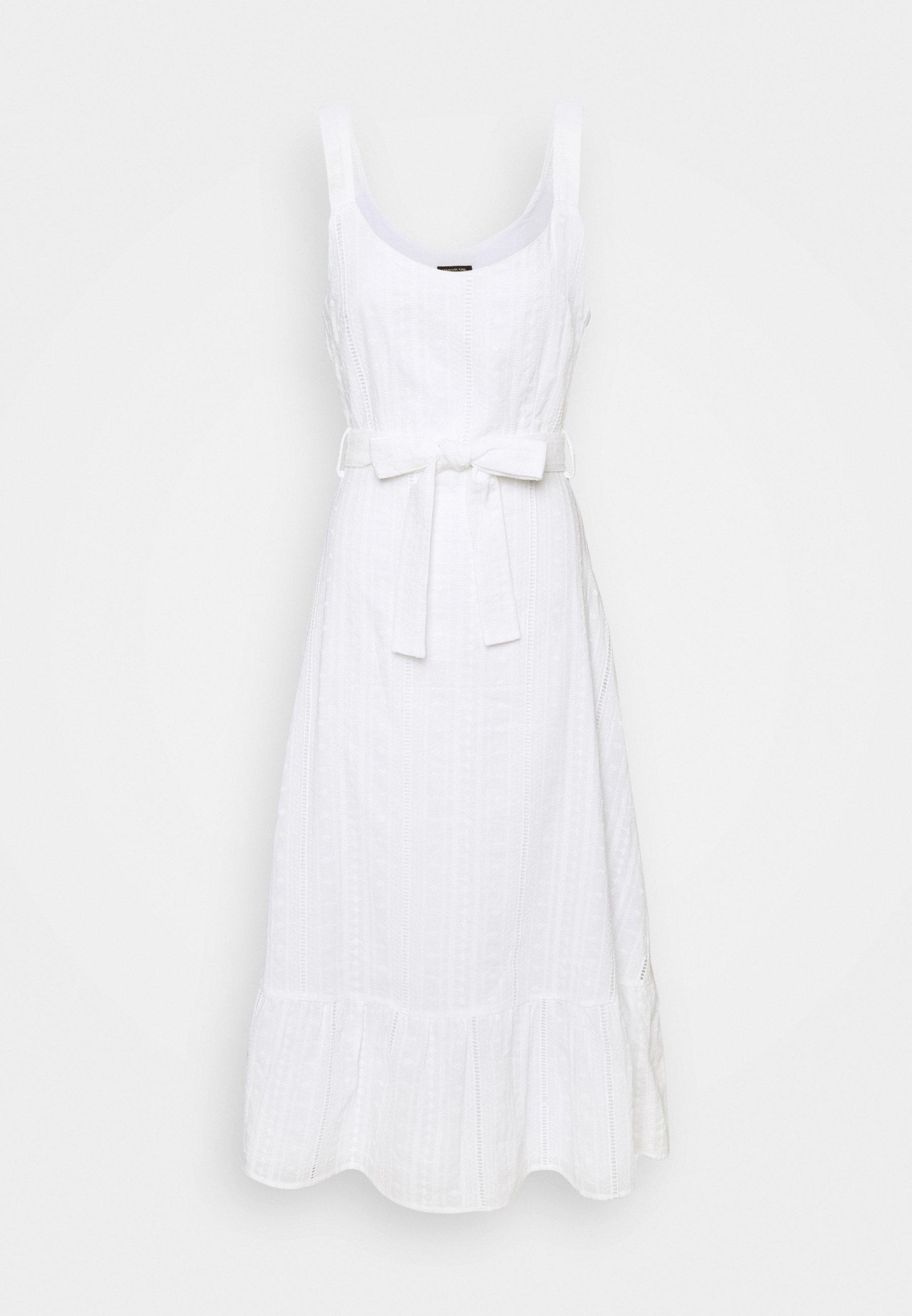 Vestido midi blanco de tirantes