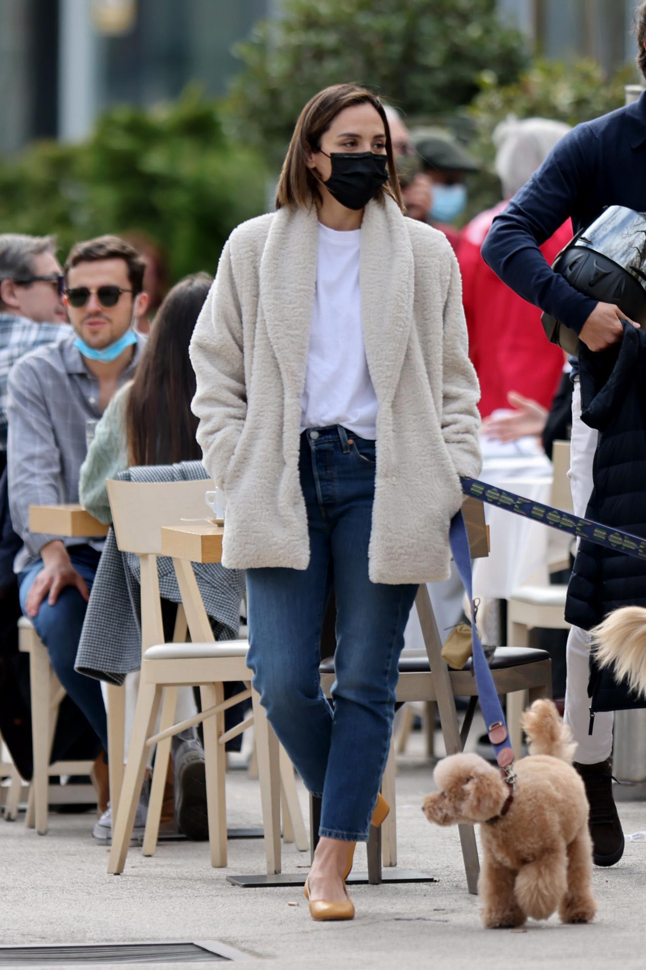 Tamara Falcó paseando a su mascota por Madrid