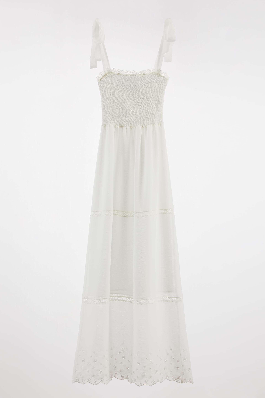 Vestido combinado puntilla de Zara