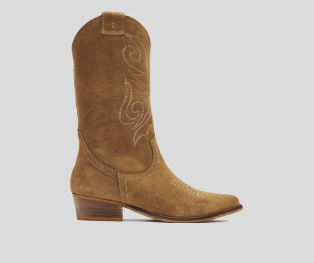 Bota cowboy serraje camel - JANDRA