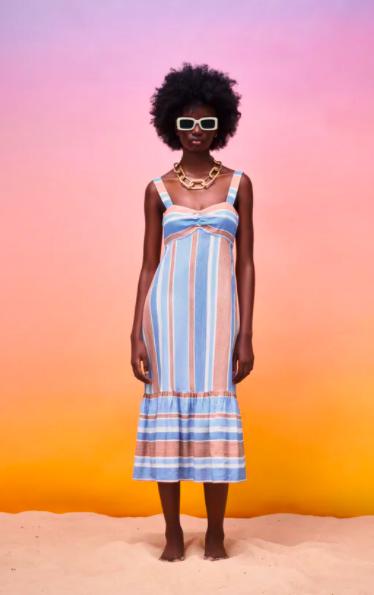 Vestido de rayas con lino de Zara