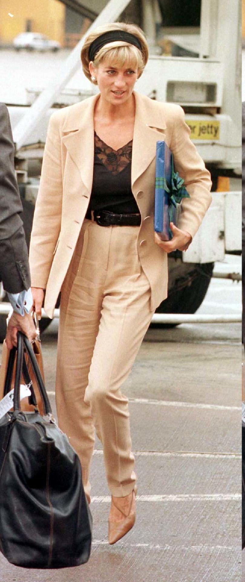 Diana de Inglaterra con traje de chaqueta de lino