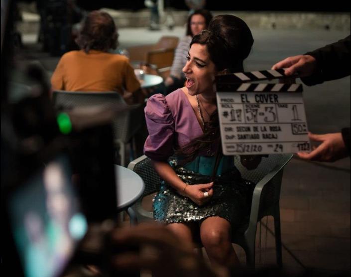 Carolina Yuste durante el rodaje de El Cover