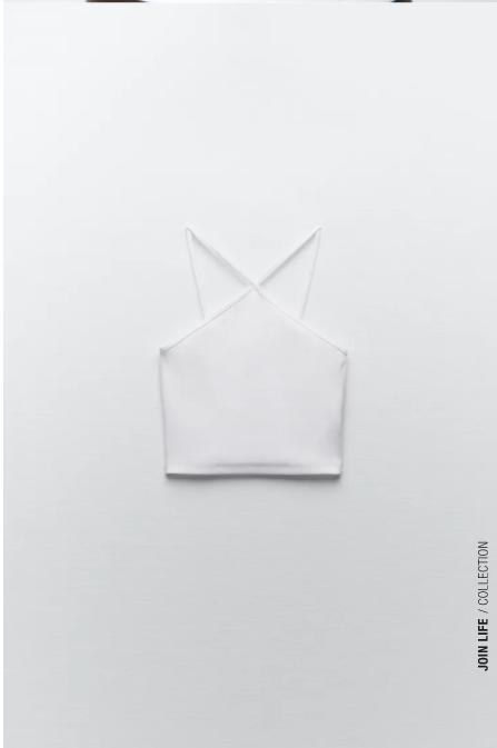 Top crop blanco de cuello halter