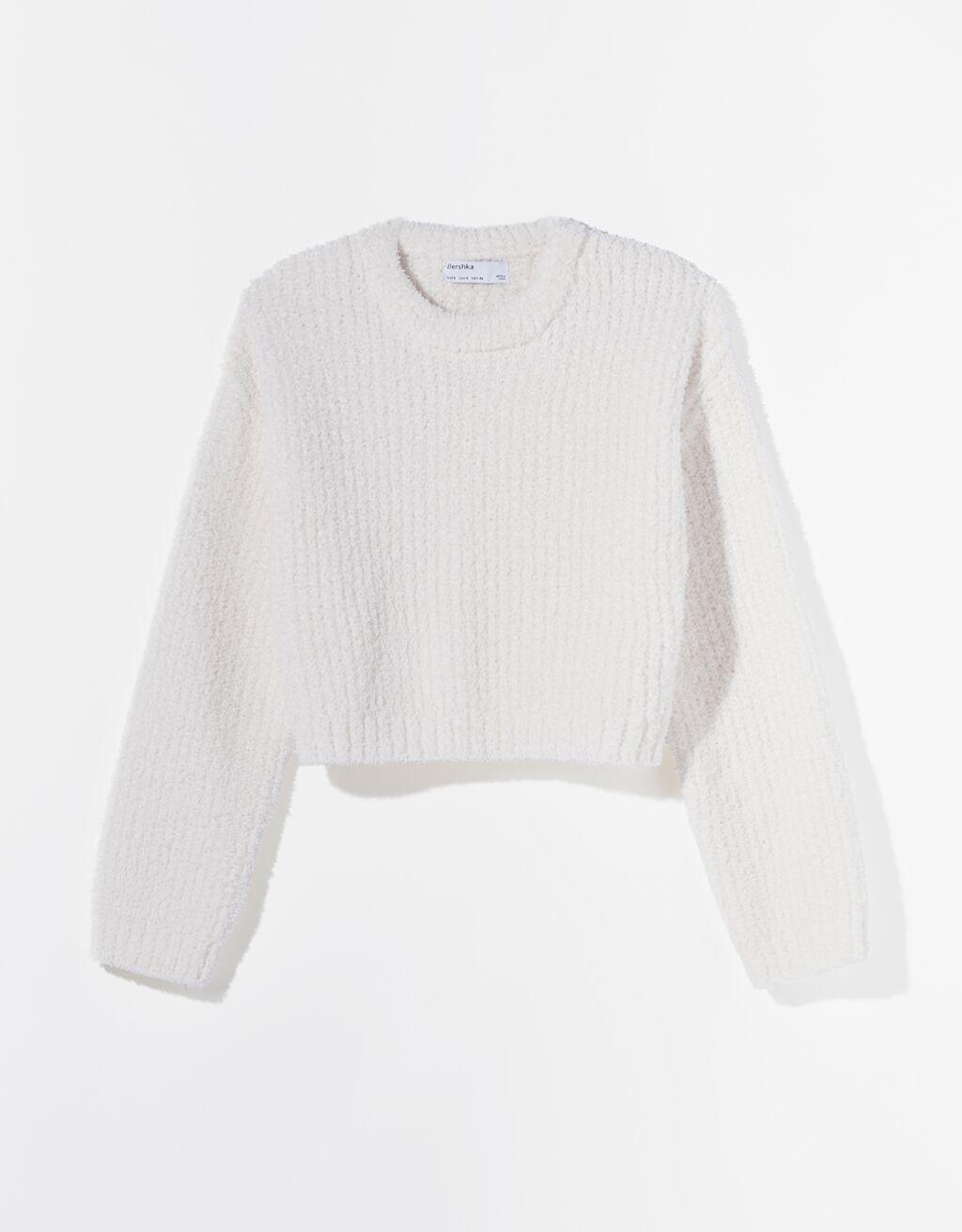 Jersey 'crop top' blanco.