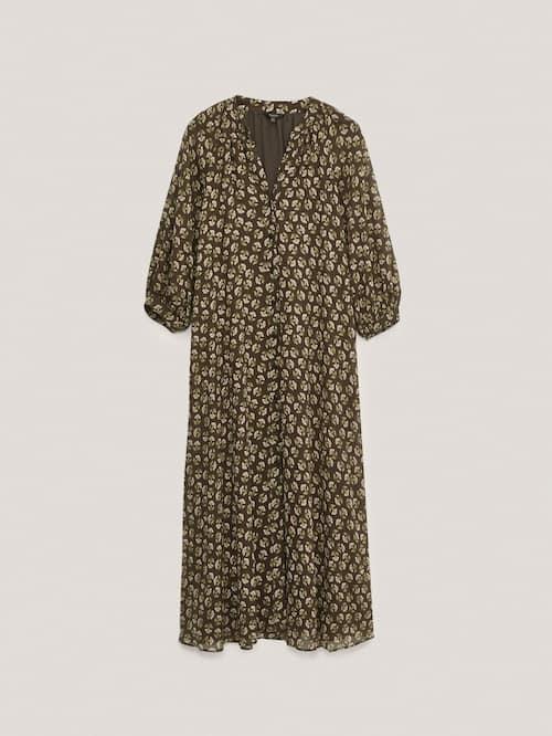 Vestido largo de estampado floral marrón