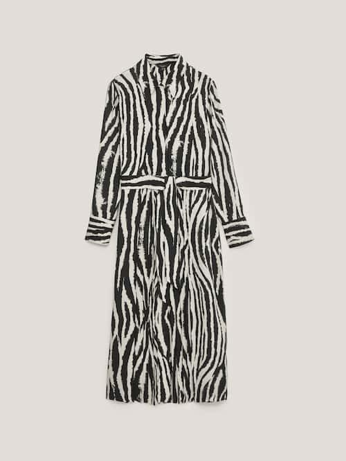 Vestido estampado de cebra de manga larga