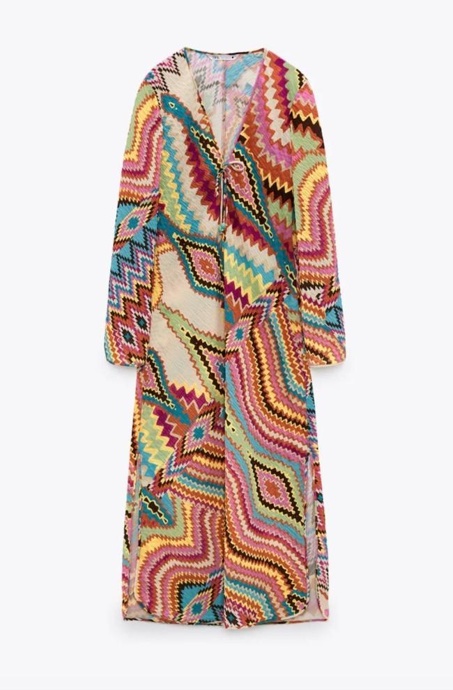 Vestido de estampado multicolor de Zara