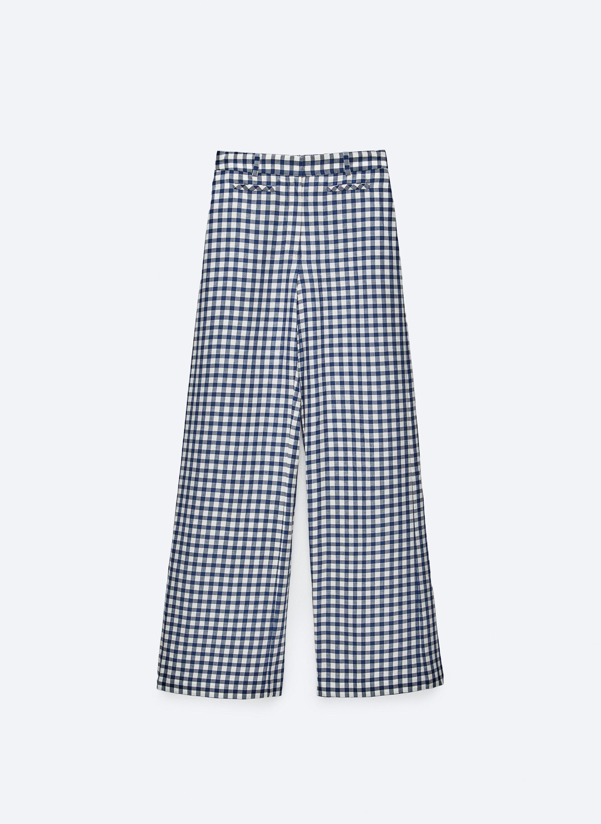 Pantalones anchos de estampado vichy