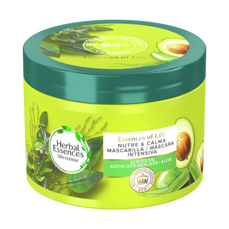 Mascarilla para el pelo seco de aceite de aguacate y aloe bio renew de Herbal Essences.