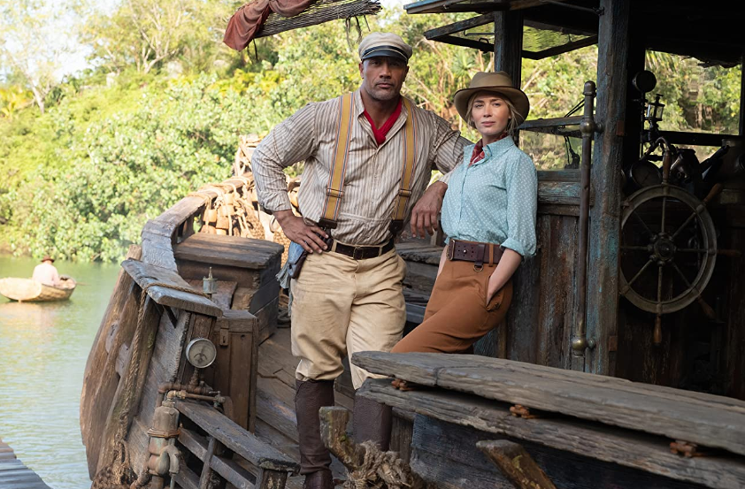 Emily Blunt y Dwayne Johnson en Jungle Cruise