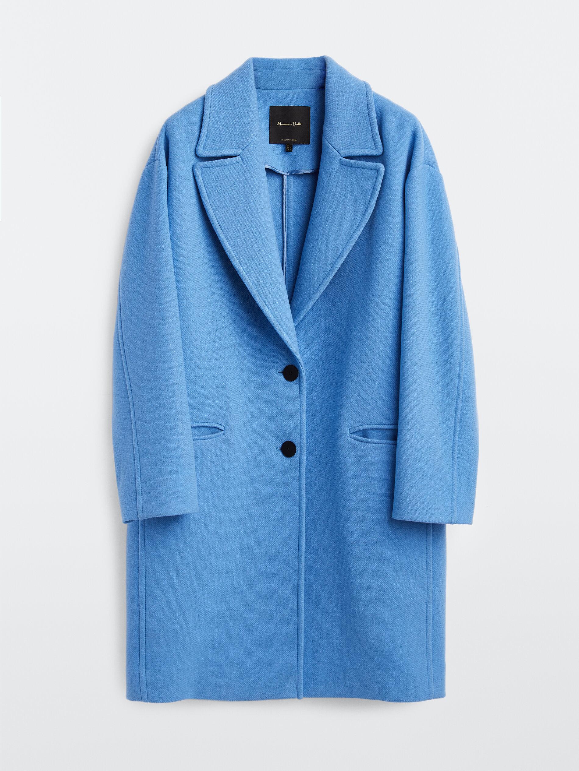 Abrigo corto de lana en azul claro