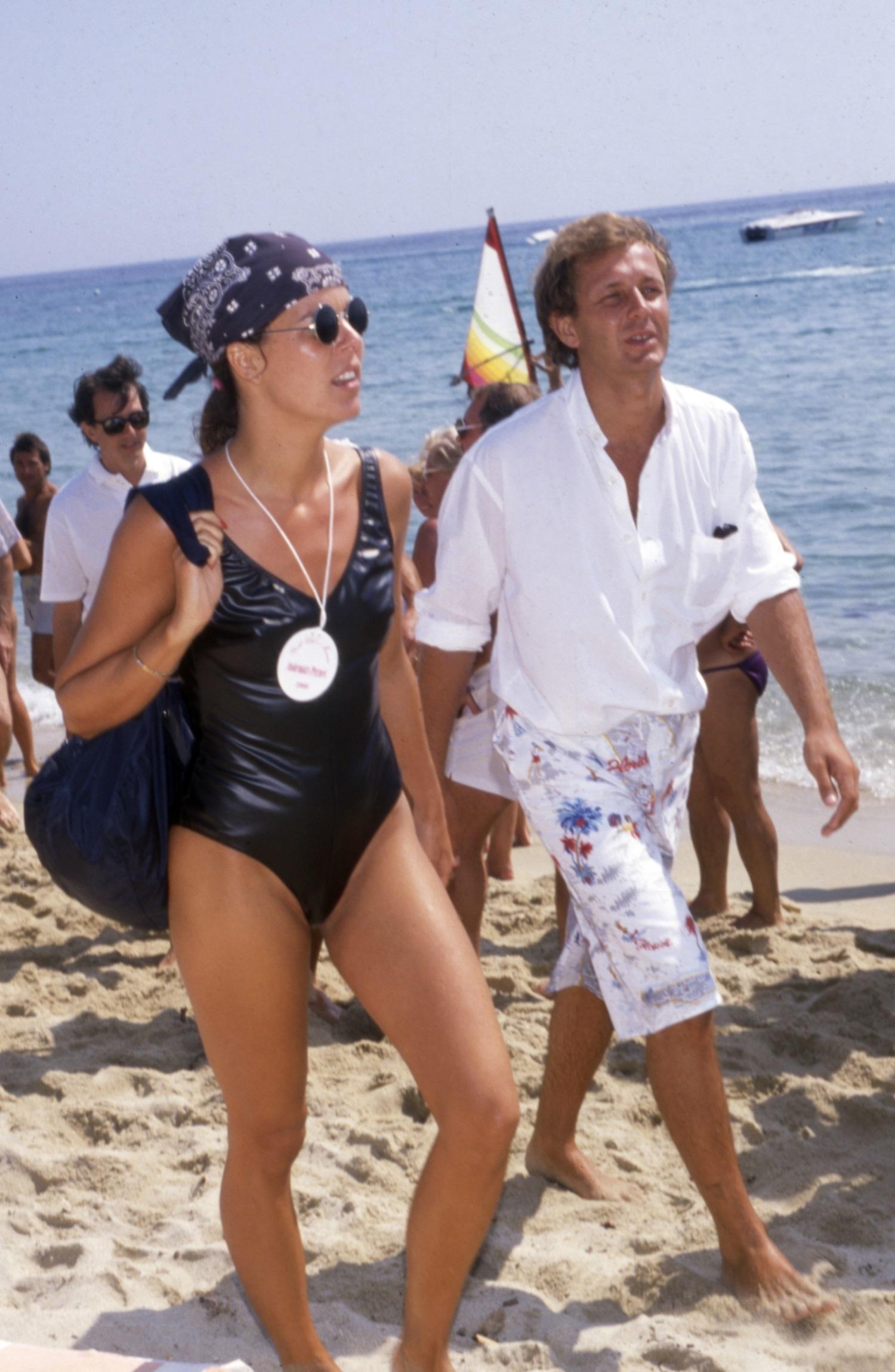 Carolina de Mónaco con su marido Stefano Casiraghi en Saint Tropez.