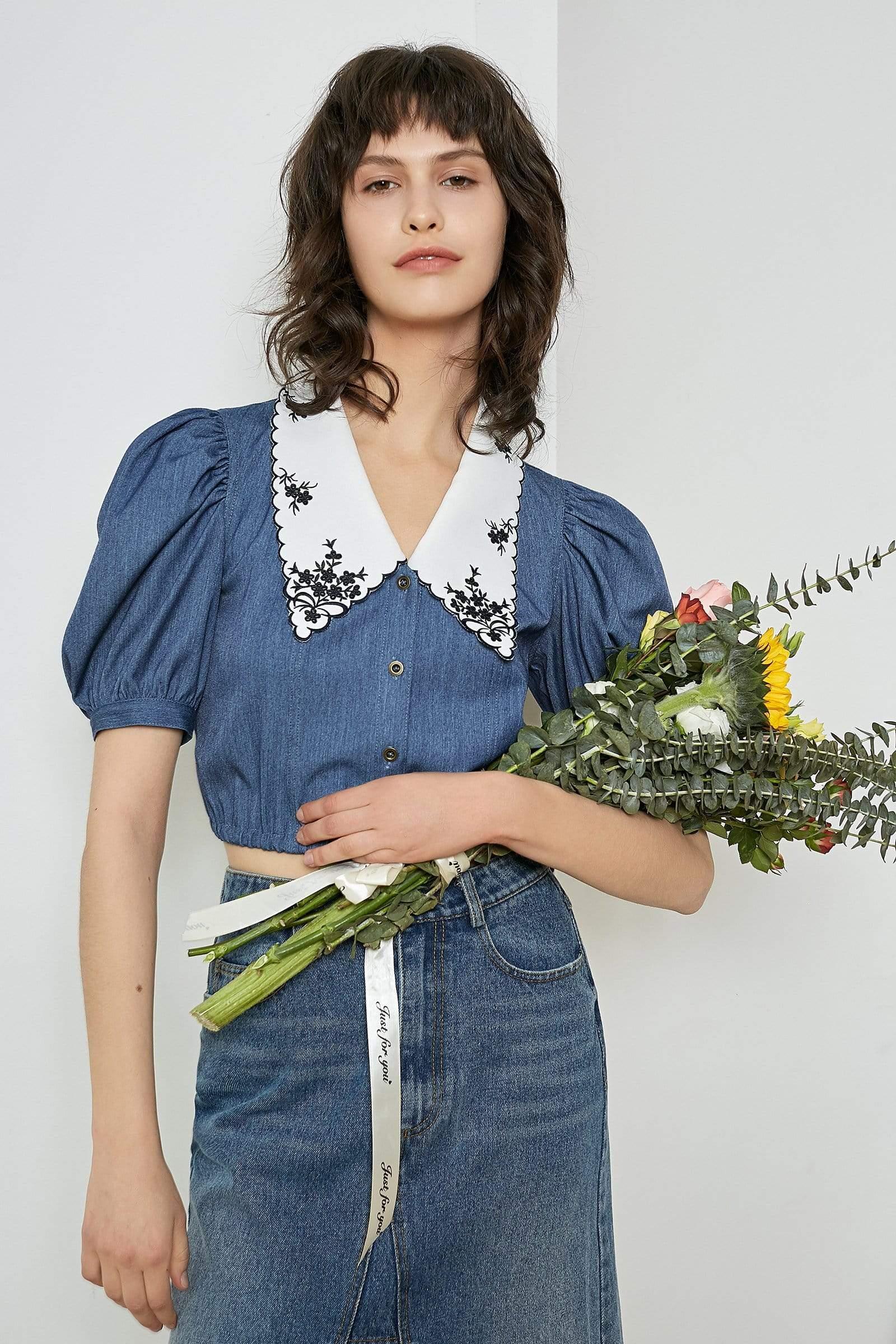 Blue Embroidered Vintage Blouse