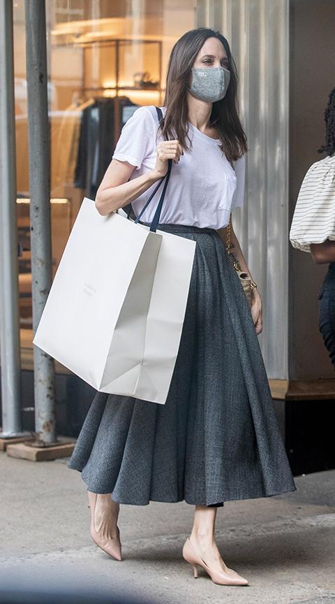 Angelina Jolie with a midi skirt.